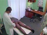 Brunette chick plays doctors massager