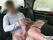 Huge boobs amateur MILF flirts with her taxi driver and he fucks her