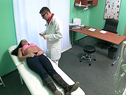 Brunette babe pussy fucked by doctor