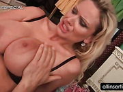 Bitchy blonde fucking massive dildo with huge tits
