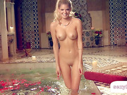 Hottest blonde ever bathing her amazing body
