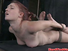 Hogtied submissive has ass penetrated