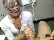 MILF tugjob lover wanking dick