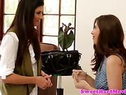 Amateur teen lesbian seduced by hot milf