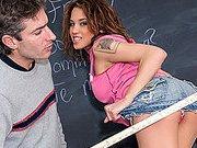 Perky Brunette Student Bangs Teacher