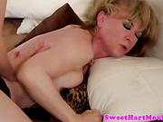 Slutty lesbian babe uses strapon on milf