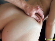 First anal lesson for tanlined amateur girlfriend