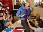 Teen and stepmom worships school teachers big cock and gets fucked