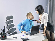 Sexy petite secretary Sheri Vi gets bang at the office of his boss