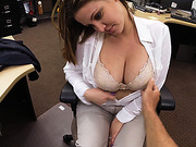 Desperate large MILF reveals her boobs and gets screwed in the pawnshop by a hard dick