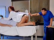 Slutty Doctor Monique Alexander seduces nurse into anal sex