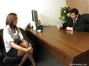 Stunning Secretary Blows Her Lucky Boss