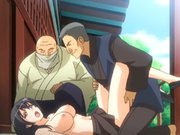 Busty Japanese hentai gangbanged in the outdoors