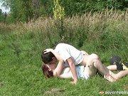 Teen girl fucking in the grass