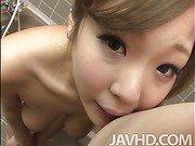Hiyoko Morinaga in the bathroom with an older guy deep throating his cock.