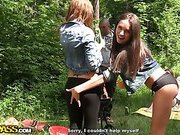 Two hot student girls work one cock