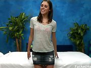 Hot and sexy brunette 18 year old Anna gets fucked hard by her massage therapist