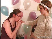 College naked babes kiss in a truth or dare game
