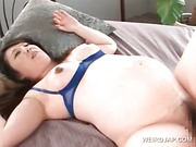 Japanese sex siren gets bald pussy fingered in close-up