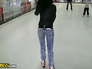 Sexy girl picked up on a skate rink