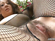 Big titty Ruhime Maiori rips her bodysuit open for a hard cock.