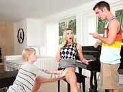 Hot teacher enjoys threesome with teens