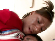 Black babe gets banged on couch